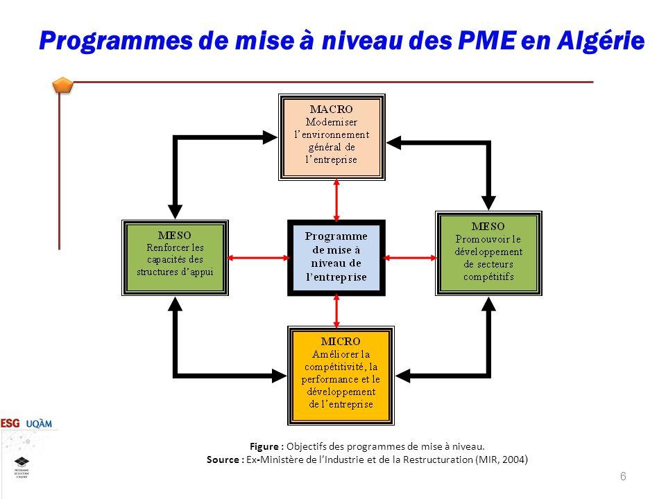 Figure : Objectifs des programmes de mise à niveau.