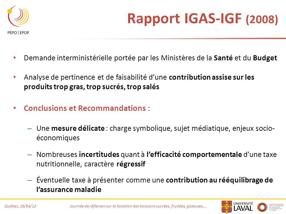 Rapport IGAS-IGF (2008) Conclusions et Recommandations :