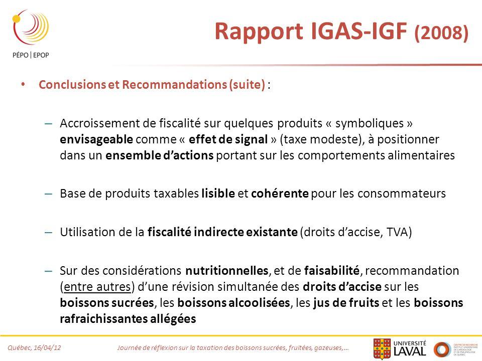 Rapport IGAS-IGF (2008) Conclusions et Recommandations (suite) :