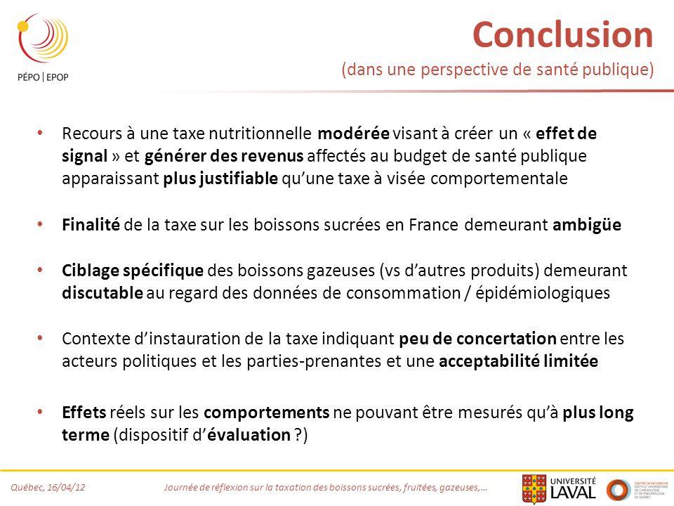 Conclusion (dans une perspective de santé publique)