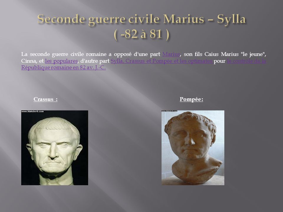 Seconde guerre civile Marius – Sylla ( -82 à 81 )
