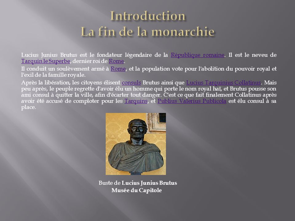 Introduction La fin de la monarchie