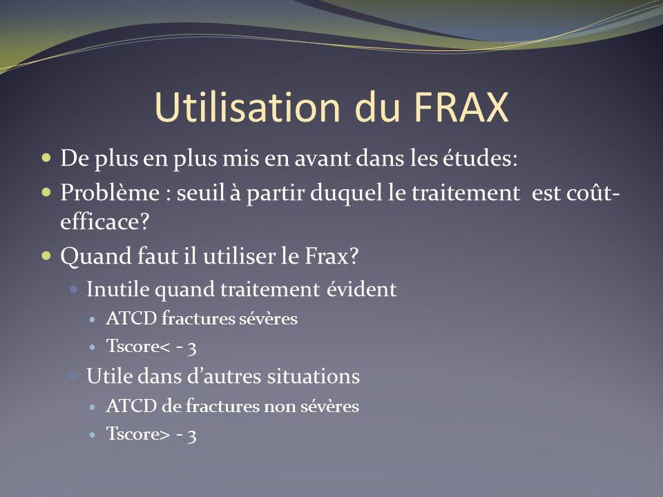 Utilisation du FRAX De plus en plus mis en avant dans les études: