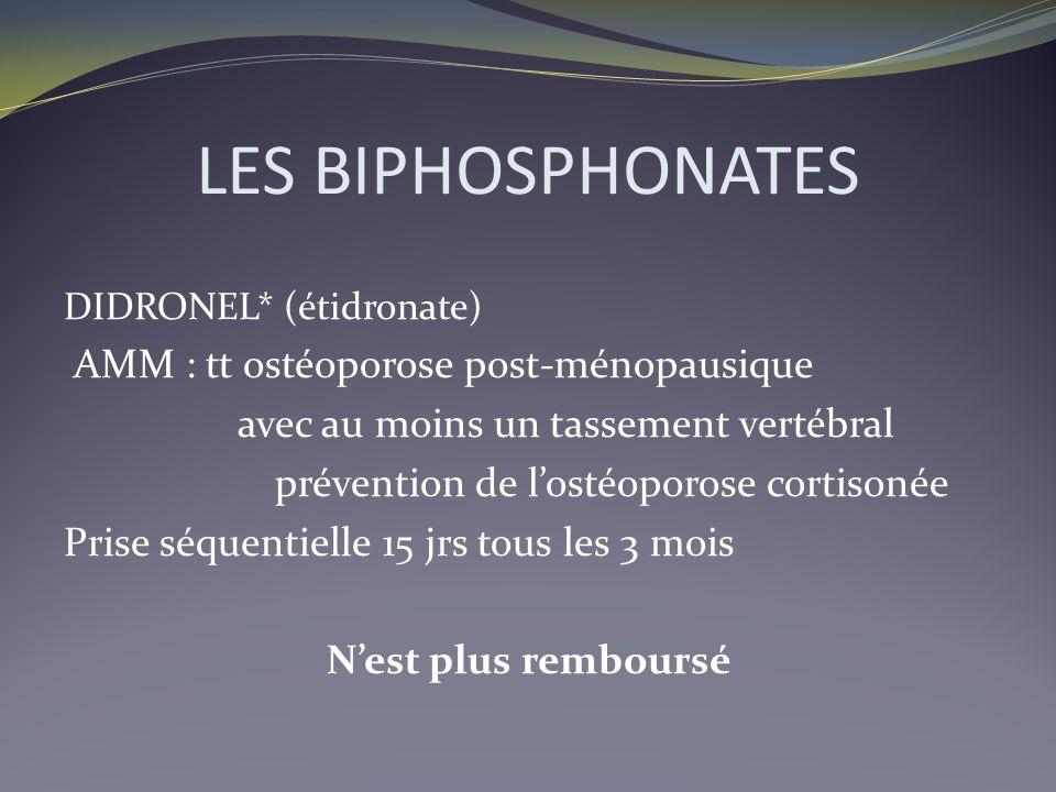 LES BIPHOSPHONATES AMM : tt ostéoporose post-ménopausique