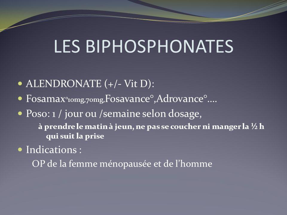 LES BIPHOSPHONATES ALENDRONATE (+/- Vit D):