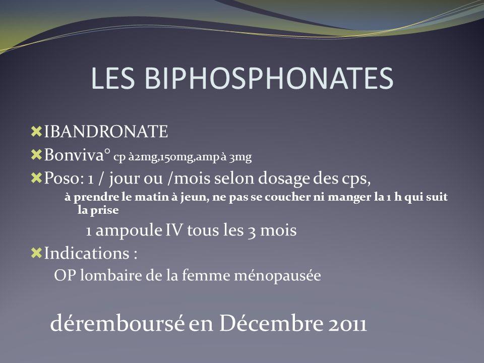 LES BIPHOSPHONATES déremboursé en Décembre 2011 IBANDRONATE