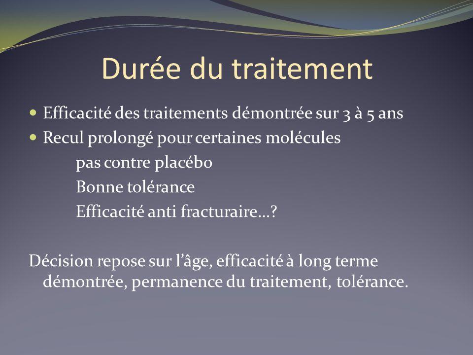 Durée du traitement Efficacité des traitements démontrée sur 3 à 5 ans