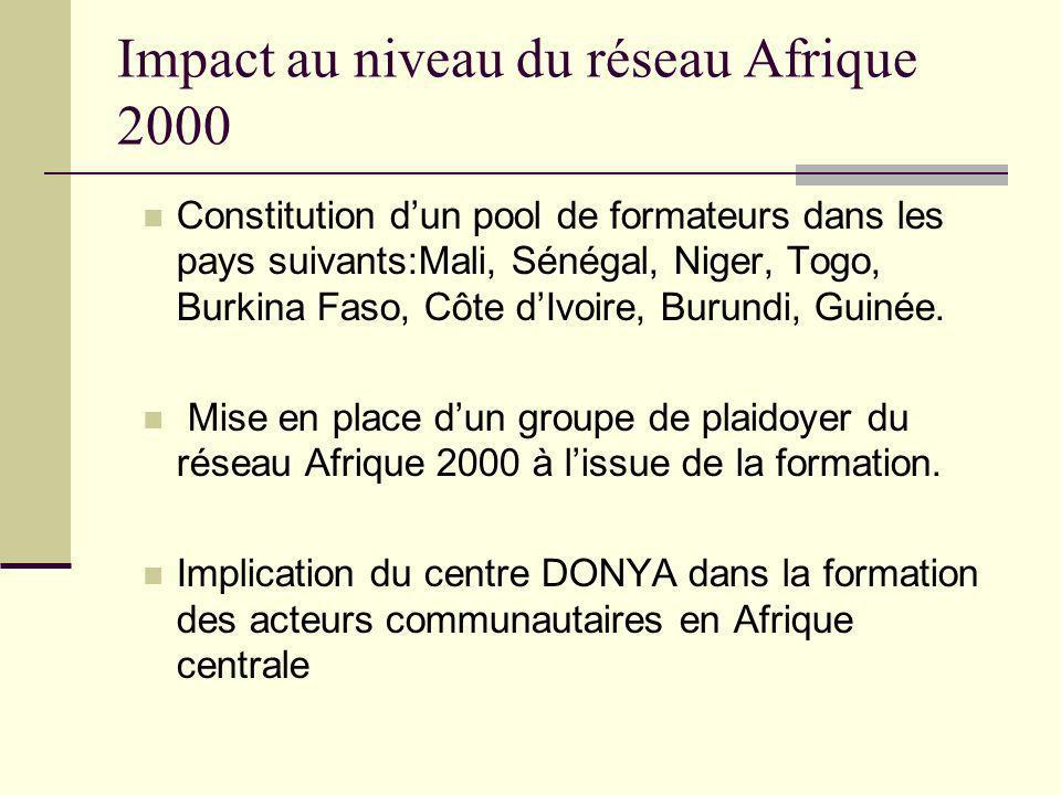 Impact au niveau du réseau Afrique 2000