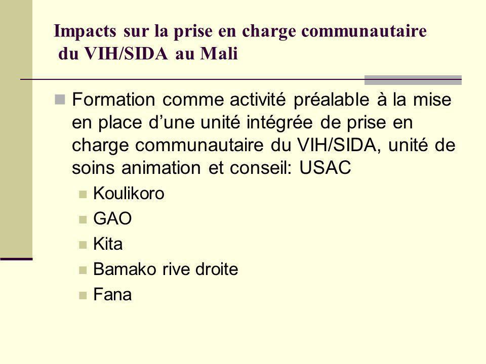 Impacts sur la prise en charge communautaire du VIH/SIDA au Mali