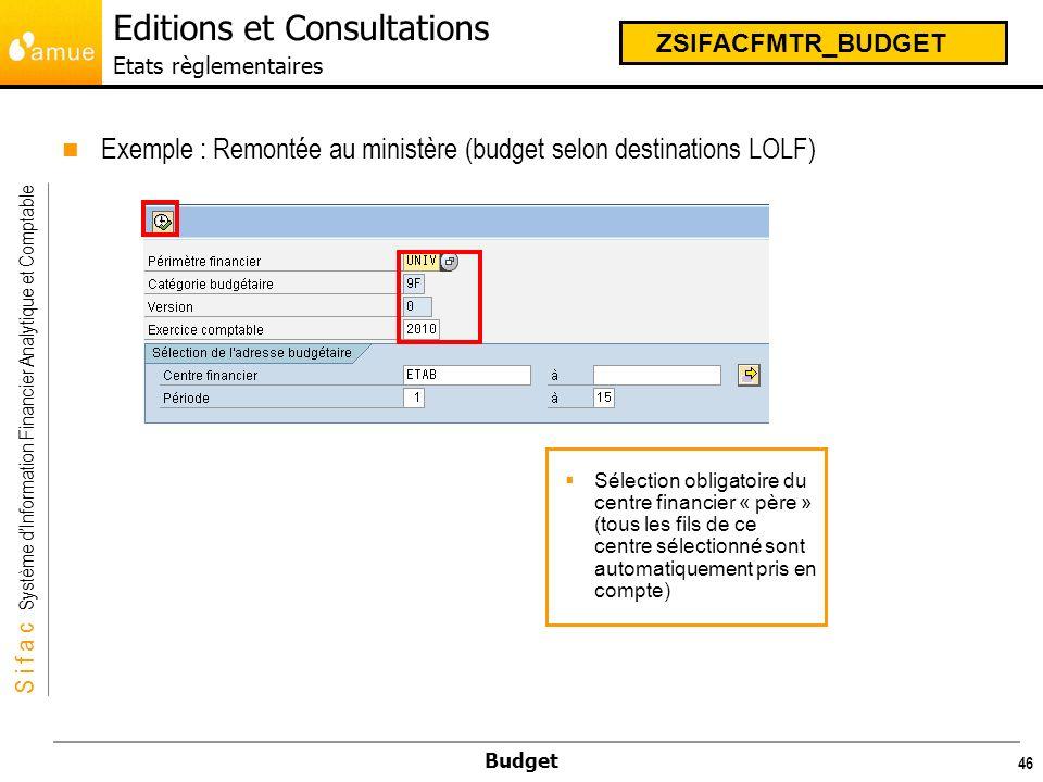 Editions et Consultations Etats règlementaires
