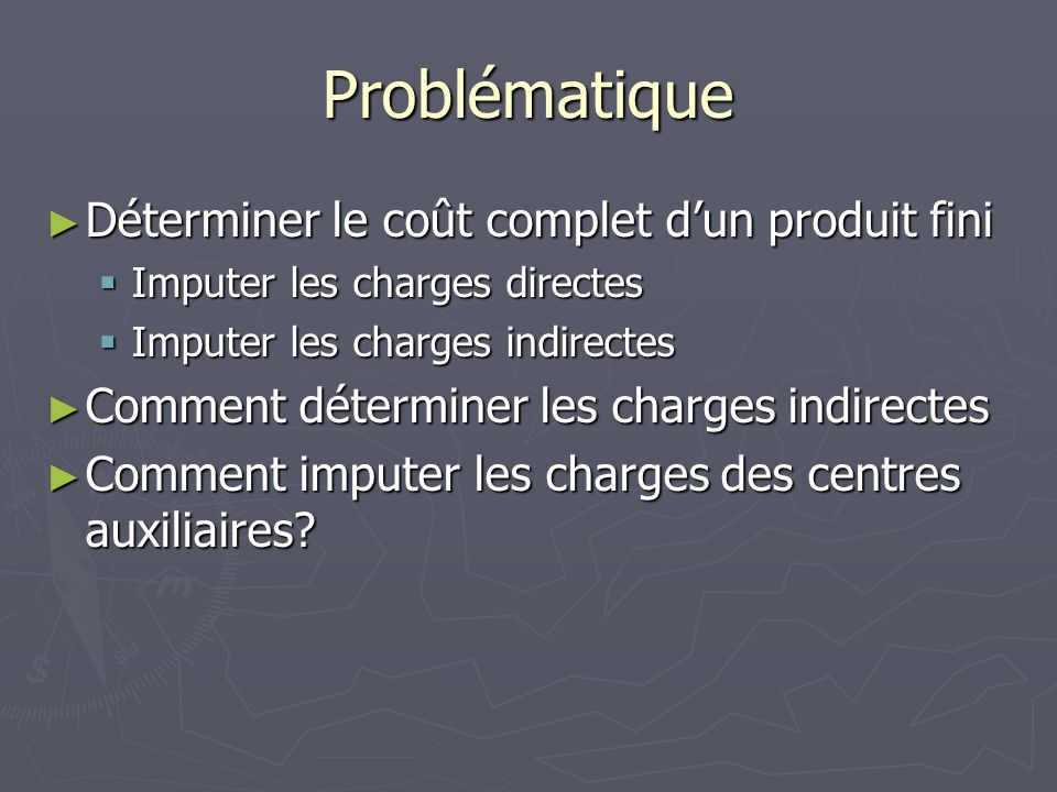 Problématique Déterminer le coût complet d'un produit fini
