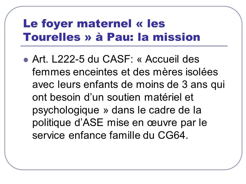 Le foyer maternel « les Tourelles » à Pau: la mission