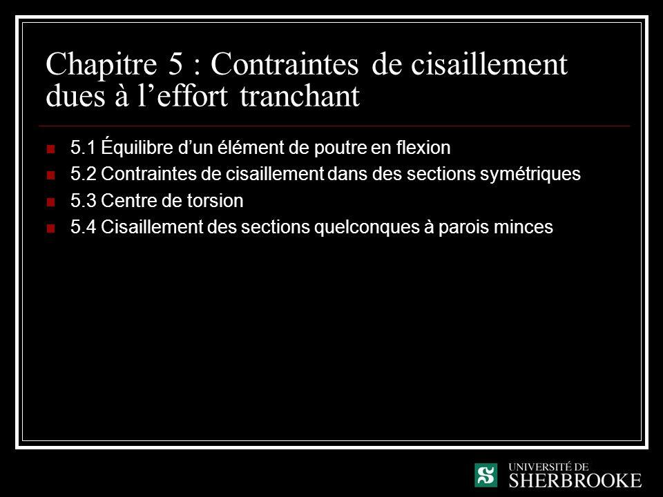 Chapitre 5 : Contraintes de cisaillement dues à l'effort tranchant