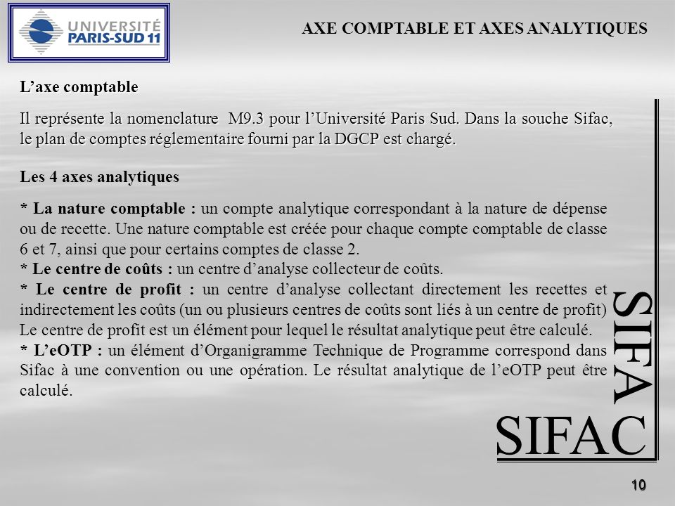 SIFA SIFAC AXE COMPTABLE ET AXES ANALYTIQUES L'axe comptable