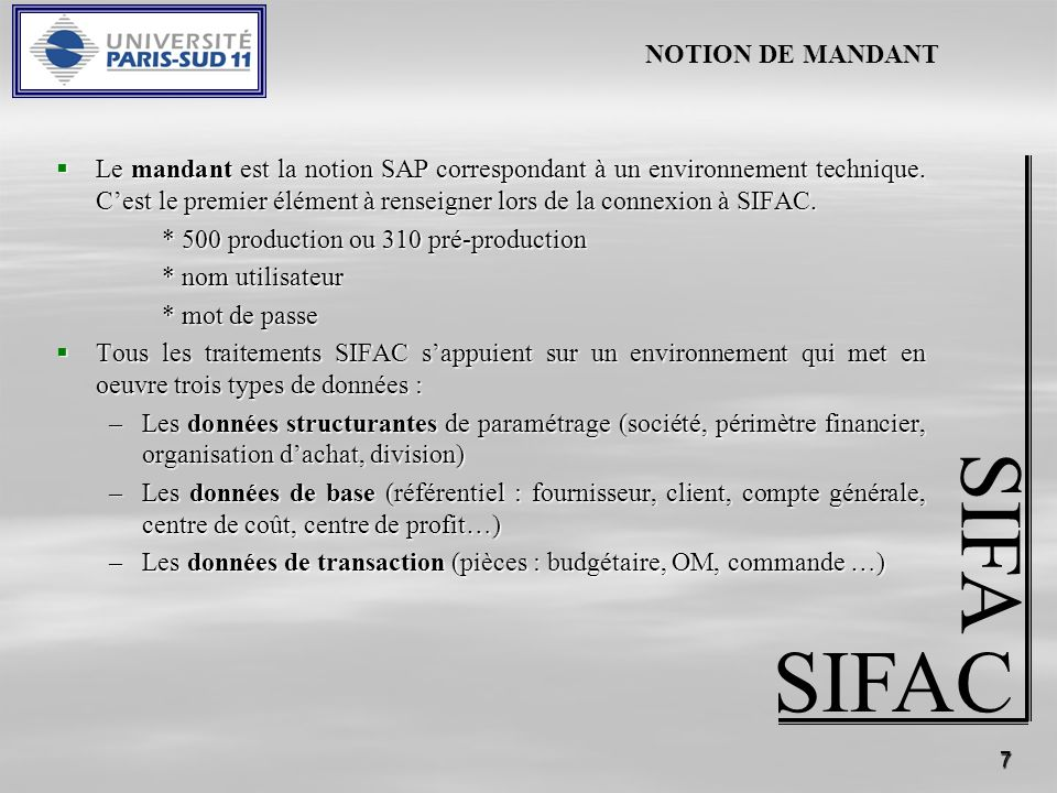 SIFA SIFAC NOTION DE MANDANT