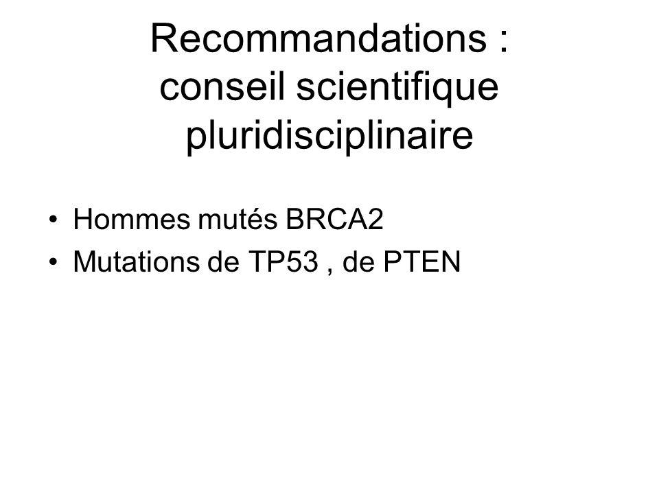 Recommandations : conseil scientifique pluridisciplinaire