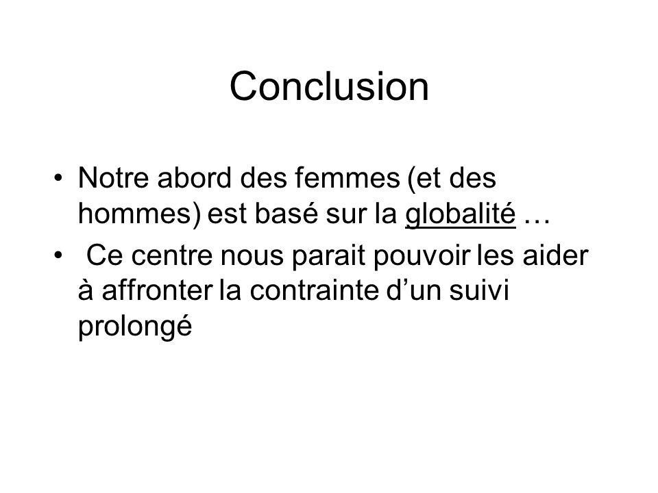 Conclusion Notre abord des femmes (et des hommes) est basé sur la globalité …
