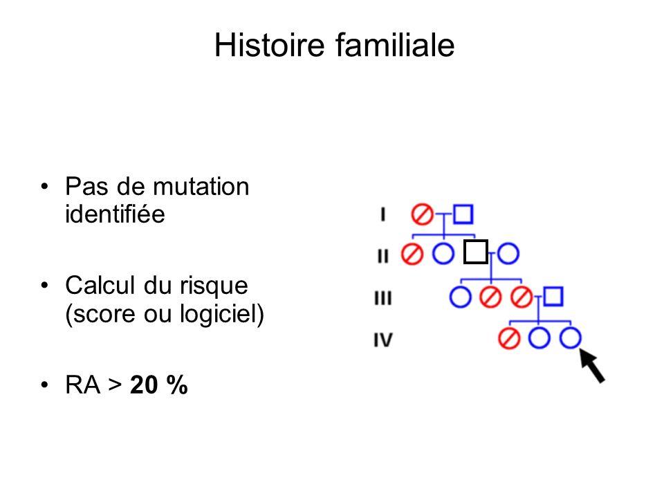 Histoire familiale Pas de mutation identifiée