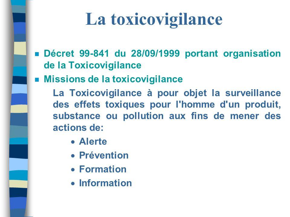 La toxicovigilance Décret 99-841 du 28/09/1999 portant organisation de la Toxicovigilance. Missions de la toxicovigilance.
