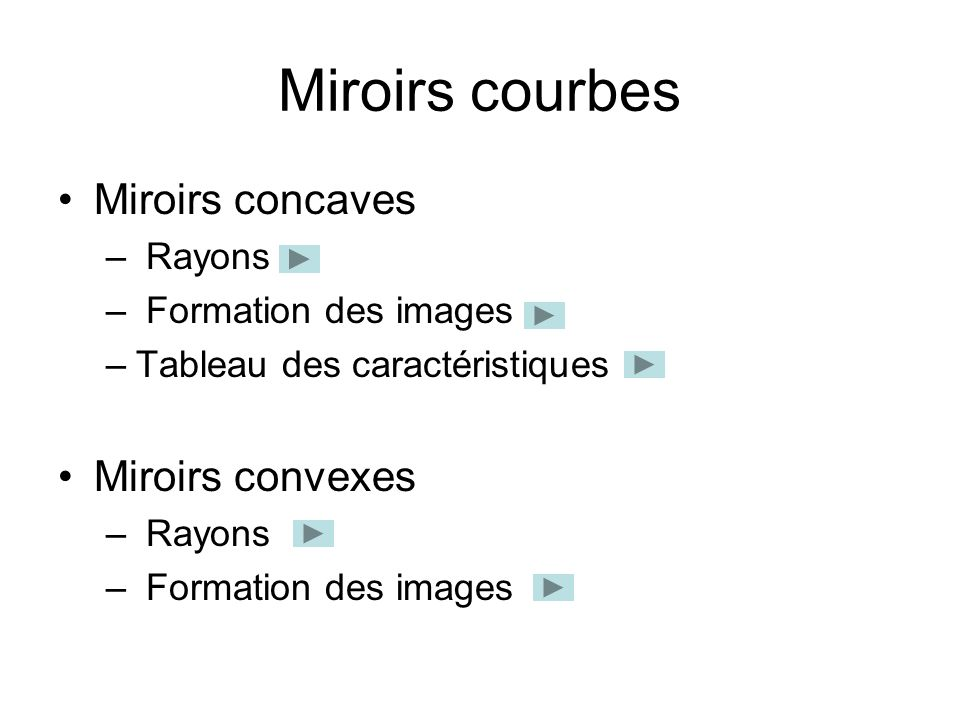 Miroirs courbes Miroirs concaves Miroirs convexes Rayons
