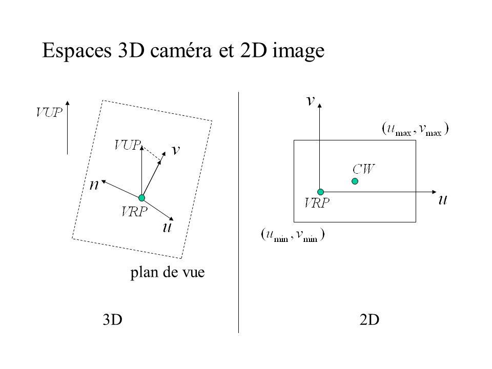 Espaces 3D caméra et 2D image