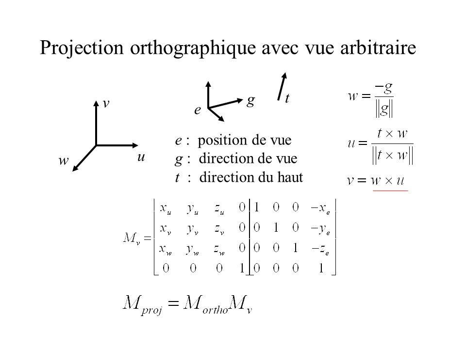 Projection orthographique avec vue arbitraire