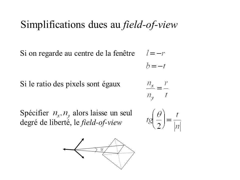 Simplifications dues au field-of-view