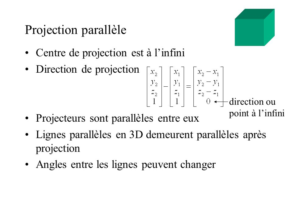 Projection parallèle Centre de projection est à l'infini