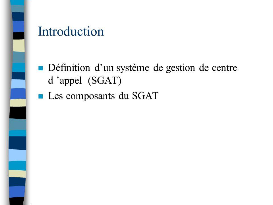 Introduction Définition d'un système de gestion de centre d 'appel (SGAT) Les composants du SGAT