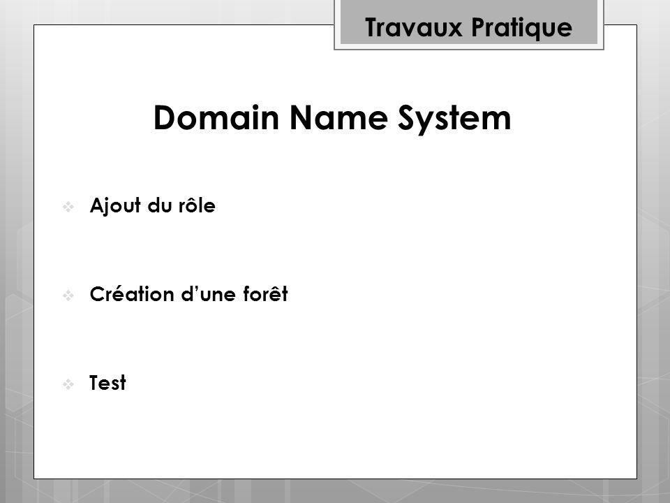 Domain Name System Travaux Pratique Ajout du rôle Création d'une forêt