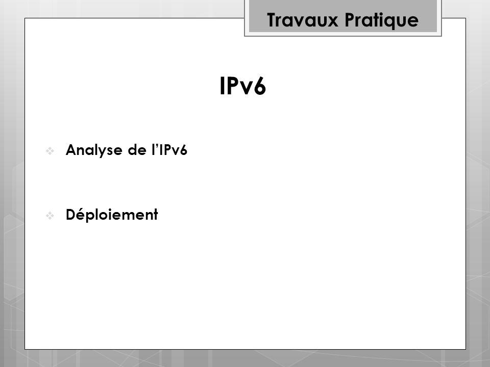 IPv6 Travaux Pratique Analyse de l'IPv6 Déploiement