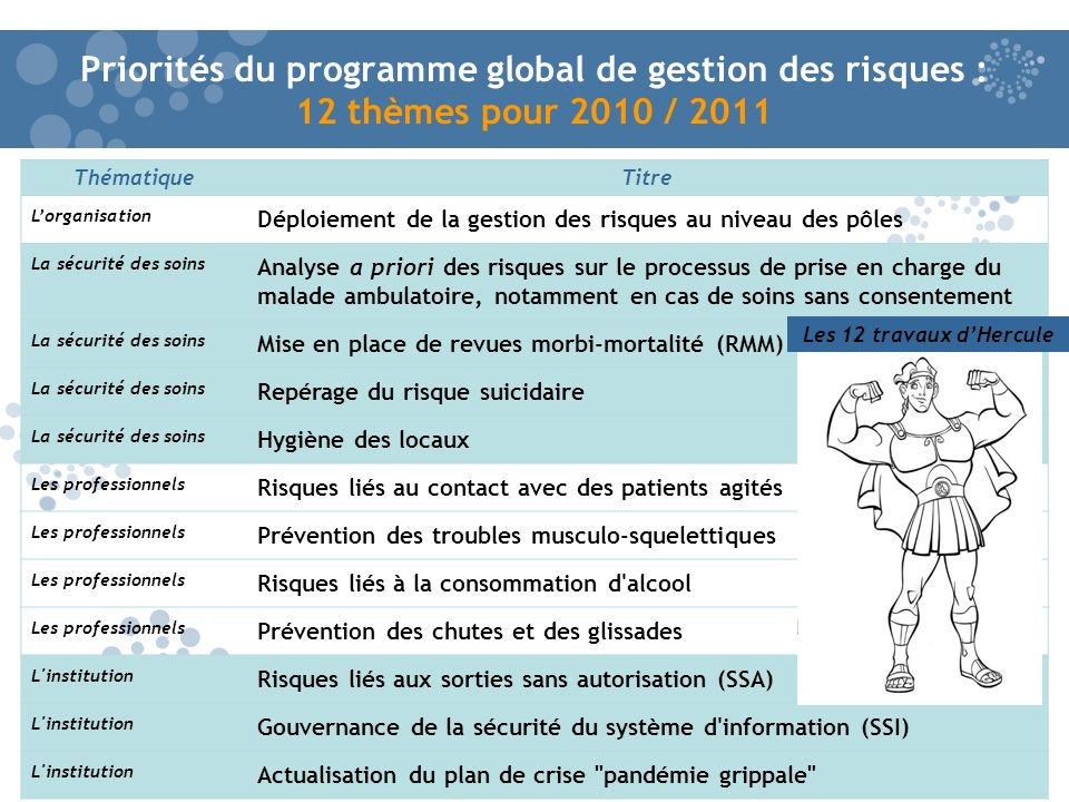 Priorités du programme global de gestion des risques : 12 thèmes pour 2010 / 2011