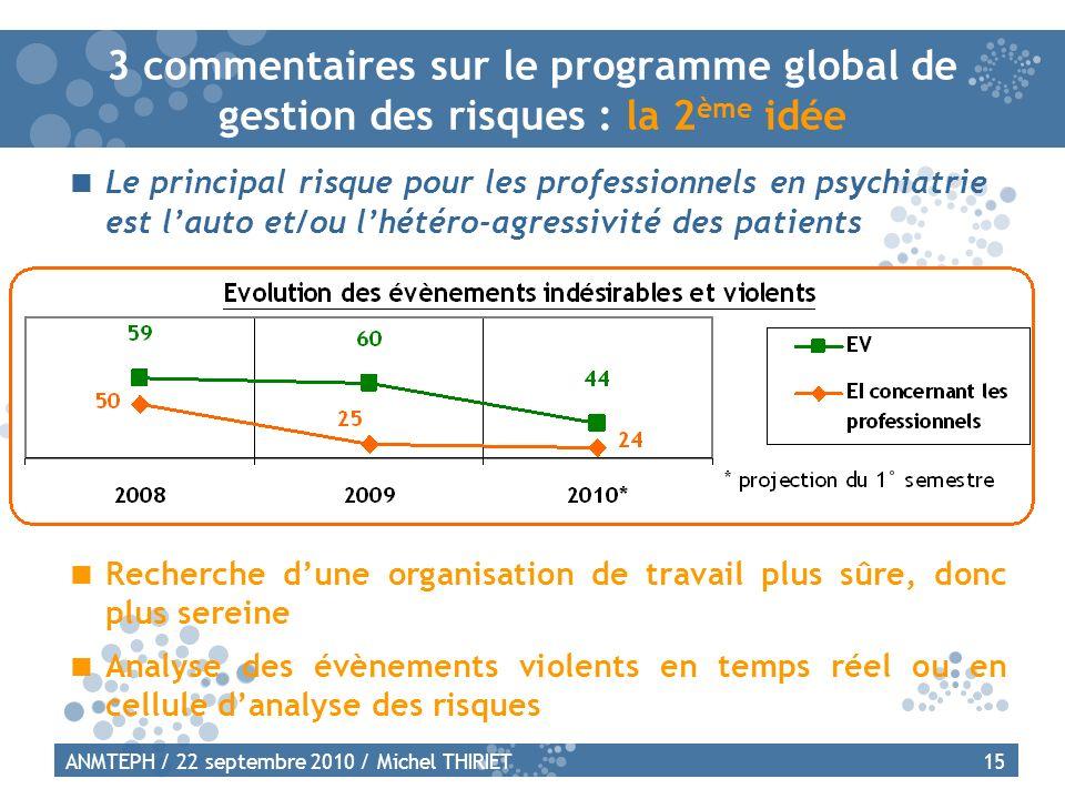 3 commentaires sur le programme global de gestion des risques : la 2ème idée