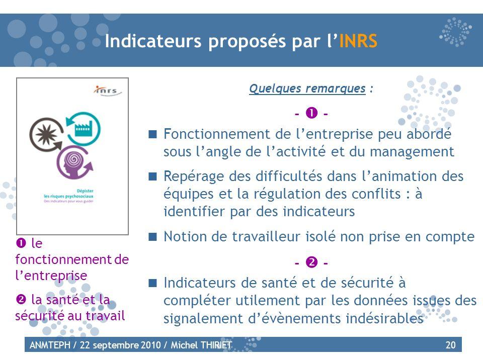 Indicateurs proposés par l'INRS