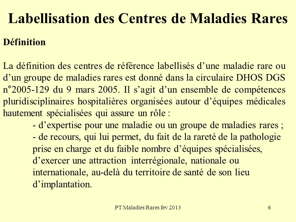 Labellisation des Centres de Maladies Rares