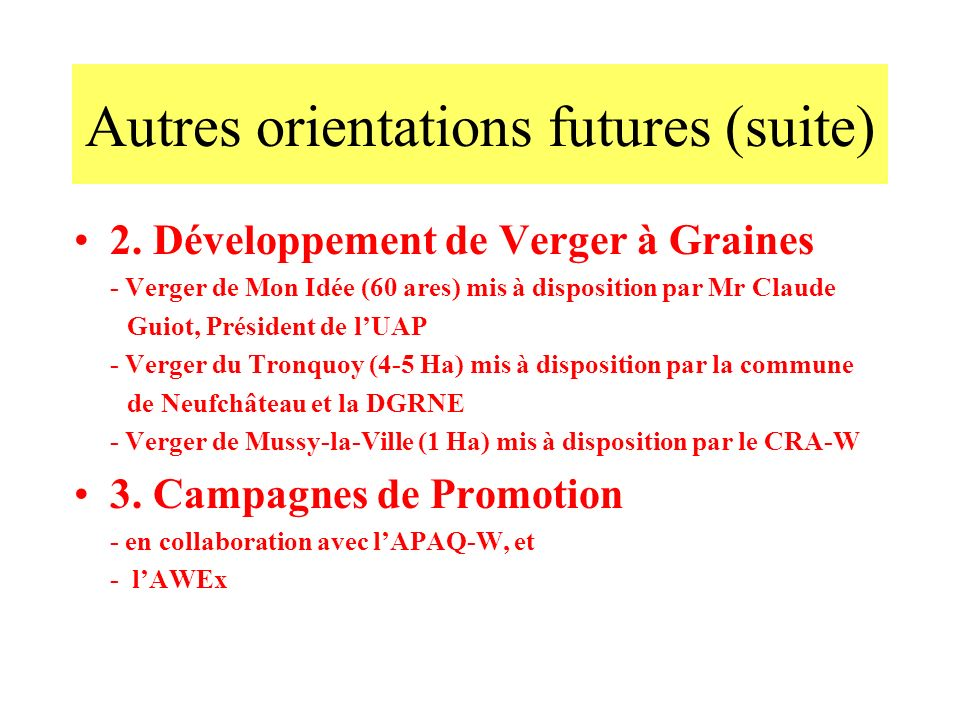 Autres orientations futures (suite)