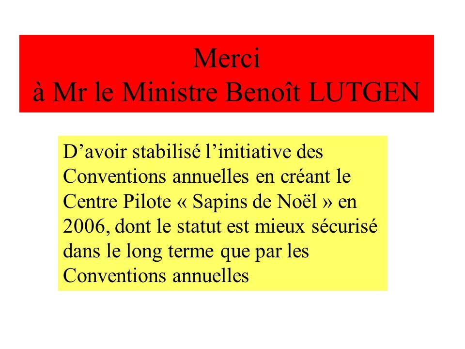 Merci à Mr le Ministre Benoît LUTGEN
