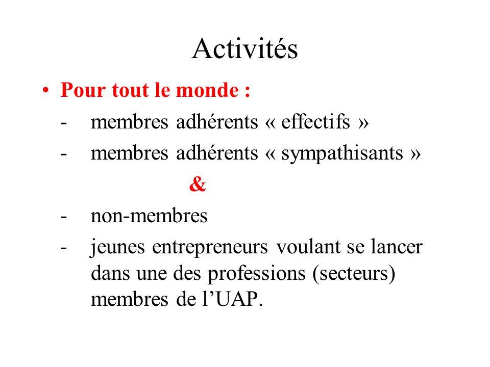 Activités Pour tout le monde : - membres adhérents « effectifs »