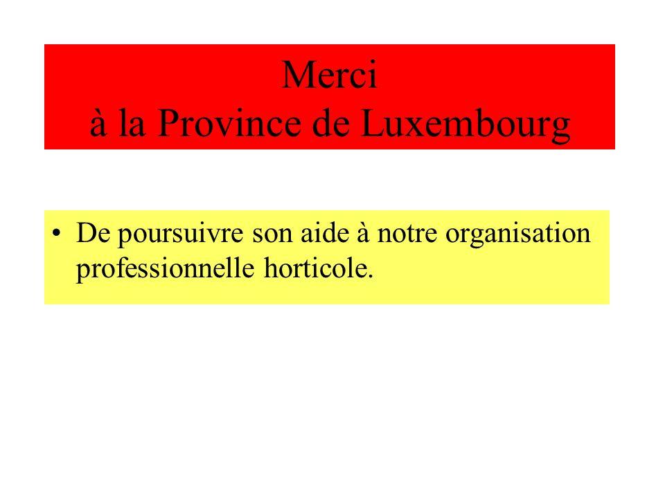 Merci à la Province de Luxembourg