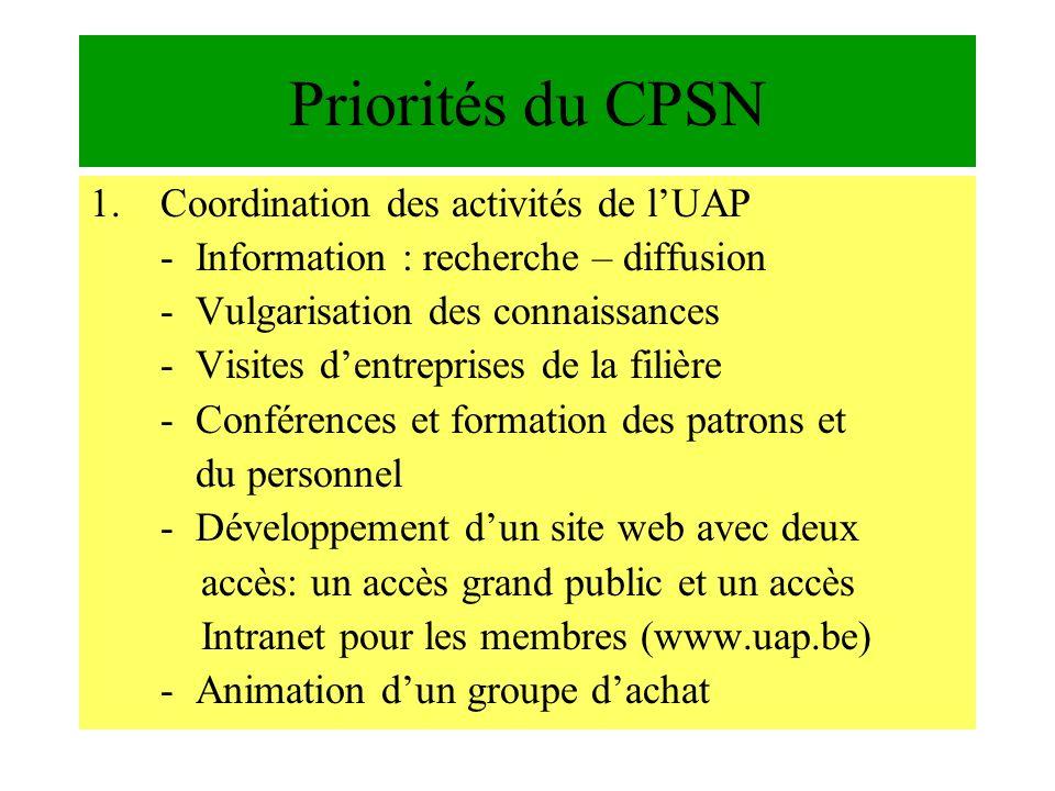 Priorités du CPSN Coordination des activités de l'UAP