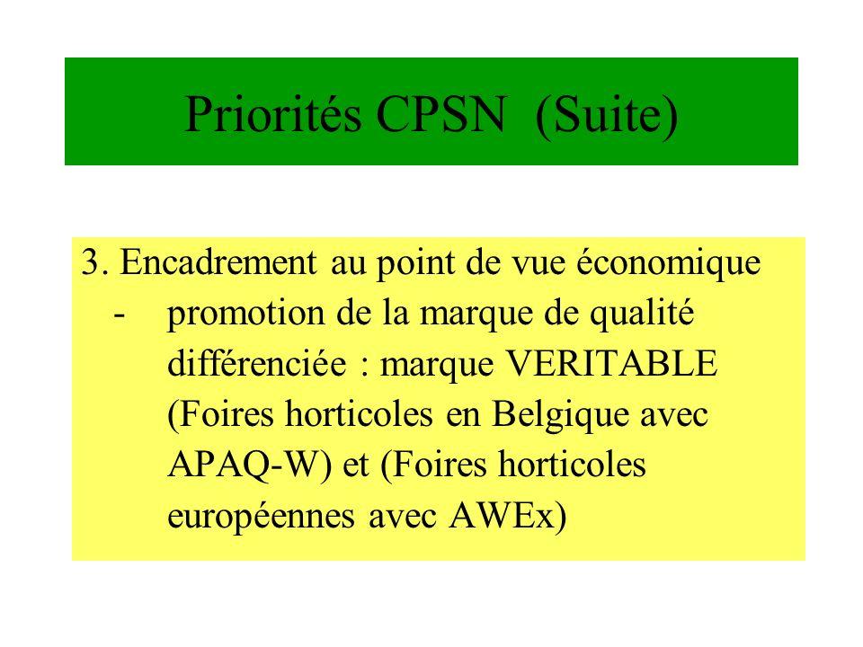 Priorités CPSN (Suite)