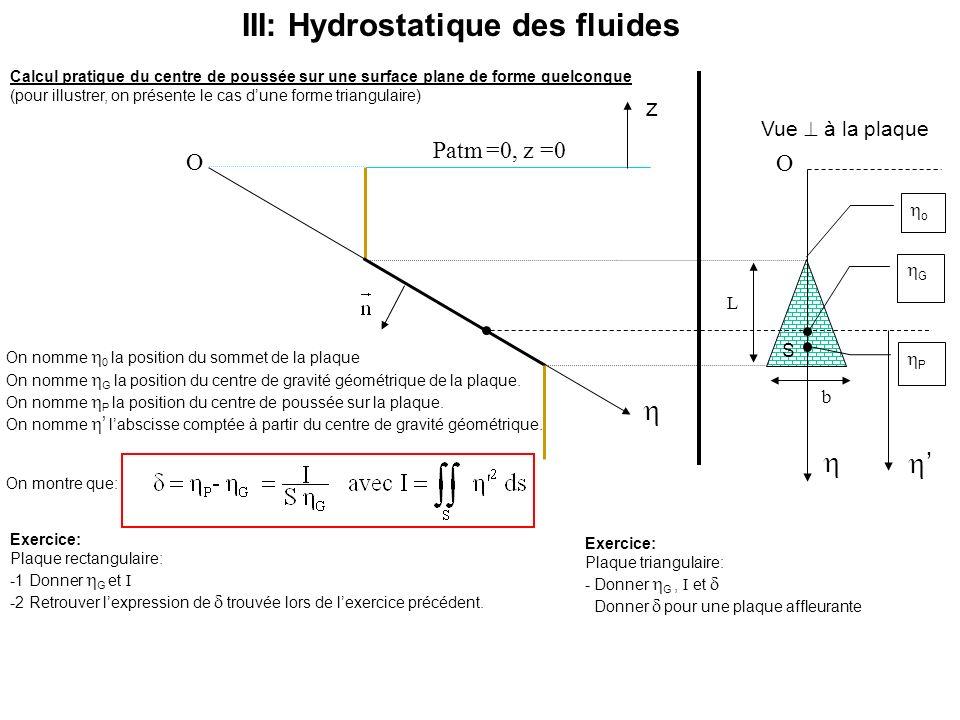 III: Hydrostatique des fluides