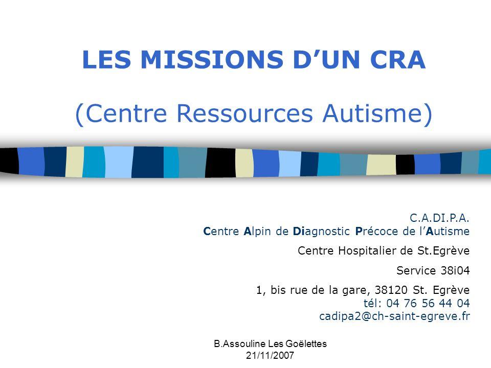 LES MISSIONS D'UN CRA (Centre Ressources Autisme)