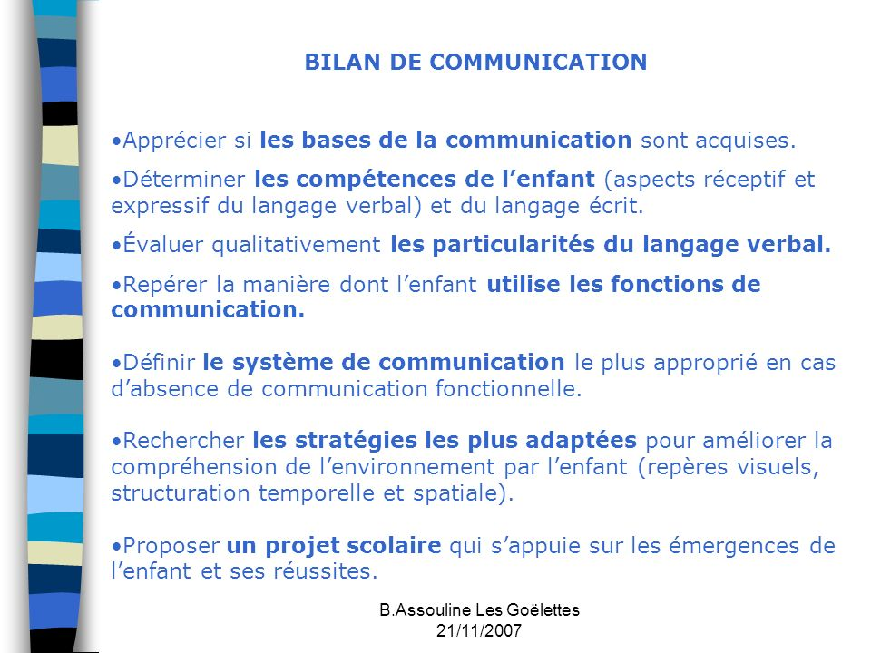 BILAN DE COMMUNICATION