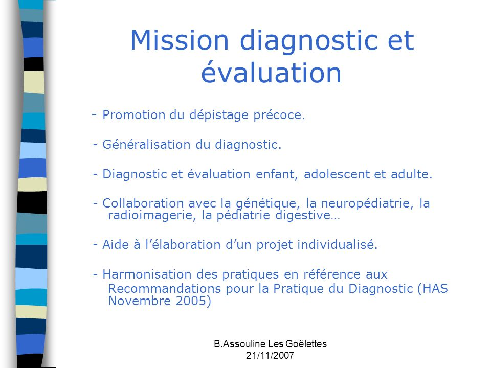 Mission diagnostic et évaluation