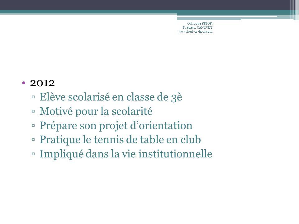 2012 Elève scolarisé en classe de 3è Motivé pour la scolarité