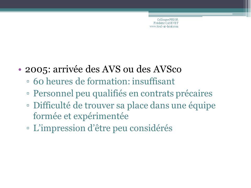 2005: arrivée des AVS ou des AVSco