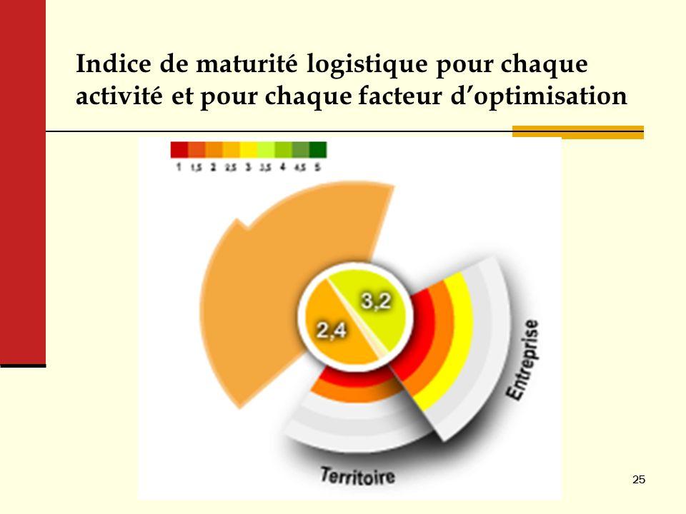 Indice de maturité logistique pour chaque activité et pour chaque facteur d'optimisation