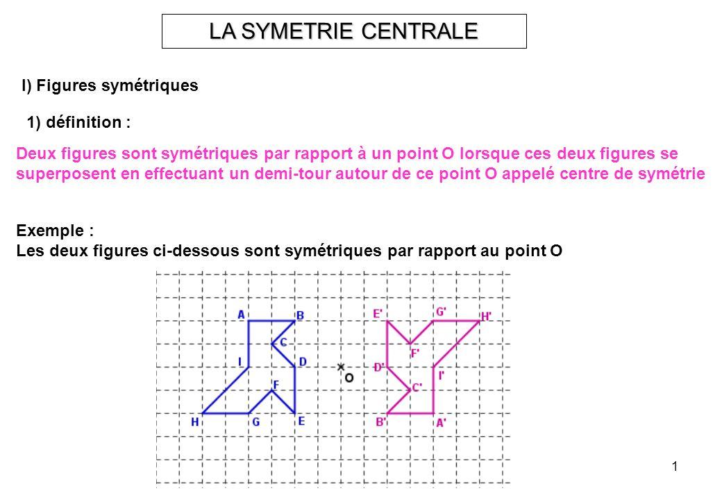 LA SYMETRIE CENTRALE I) Figures symétriques 1) définition :