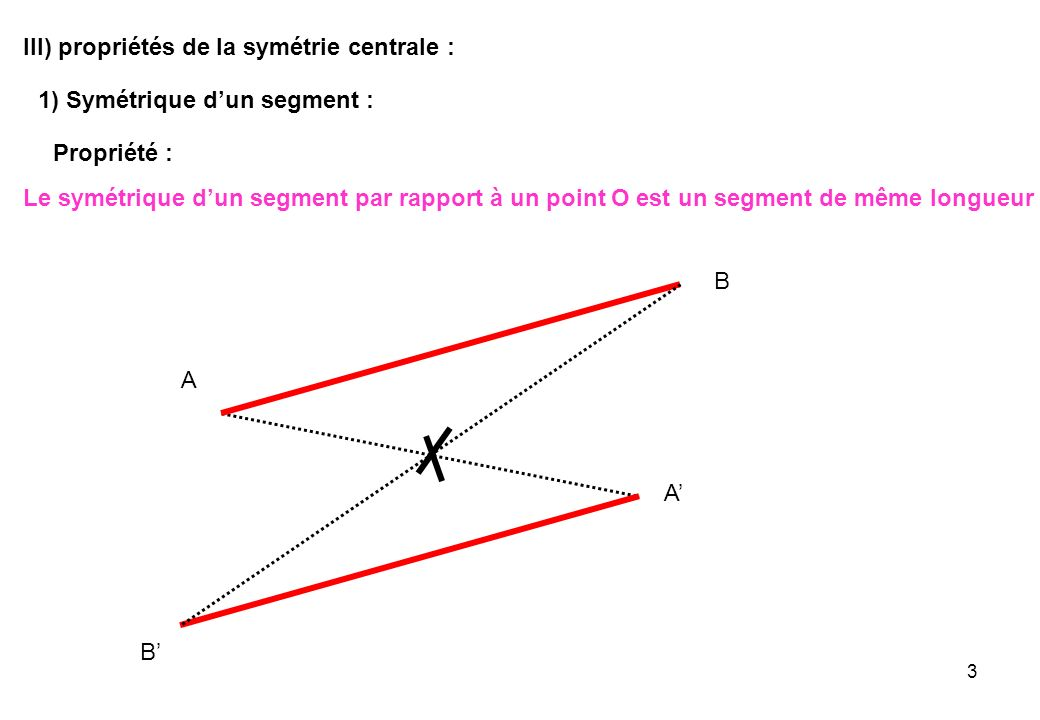 III) propriétés de la symétrie centrale :